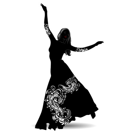 Silhouette belly dancer with designs on the outfit on white background