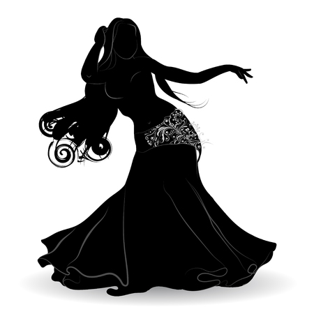 Silhouette of belly dancer in motion with the patterns on the clothes on a white background