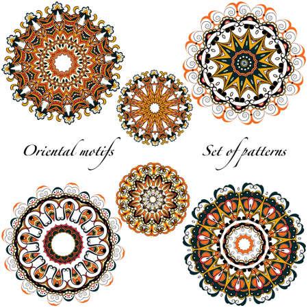 Illustration pour Oriental motifs, mandalas in a warm - image libre de droit