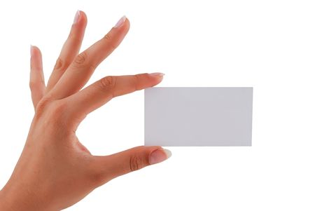 blank business card in his hand a woman