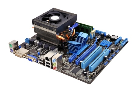 motherboard and cpu on a white background