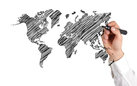 hand drawing world map on white background
