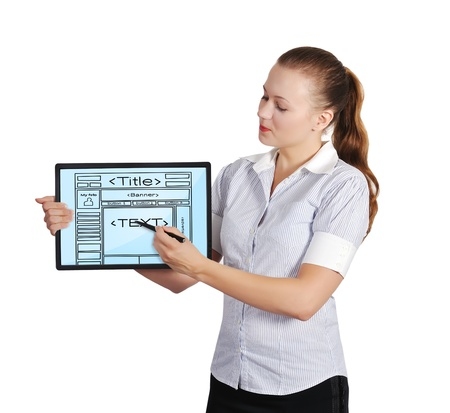 woman holding touch pad with template web page