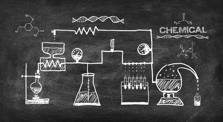 scheme chemical reaction drawing on black chalkboard