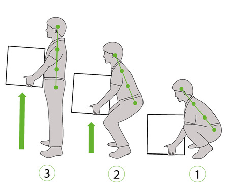Illustration for Correct posture to lift. Illustration of health care. Vector illustration - Royalty Free Image