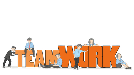 Illustration pour Sketch of working little people with big word Teamwork. Doodle cute miniature scene of workers. Hand drawn cartoon vector illustration for business design and infographic. - image libre de droit
