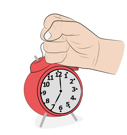 Illustration pour the man strikes his hand on the alarm clock. get up early. vector illustration. - image libre de droit