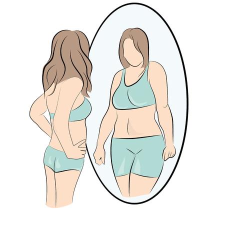 Ilustración de girl looks fat vector illustration. - Imagen libre de derechos
