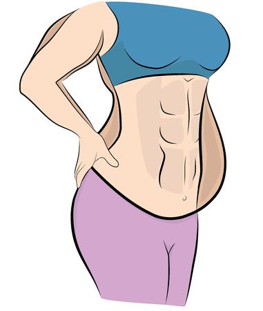 Ilustración de woman before and after losing weight. vector illustration. - Imagen libre de derechos