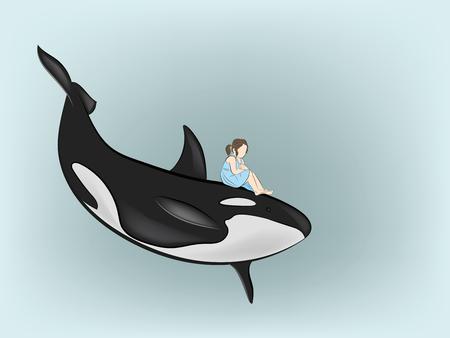 Illustration pour the girl is sitting on the killer whale. vector illustration. - image libre de droit