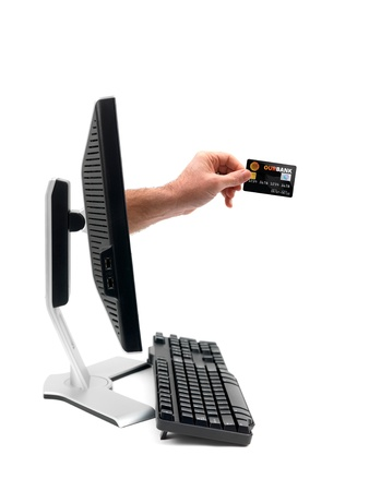 A conceptual image of using a credit card online