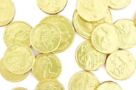 A studio photo of chocolate gold coins: Royalty-free images, photos