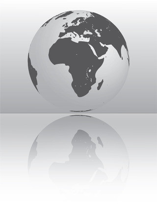 silver globe showing africa and europe