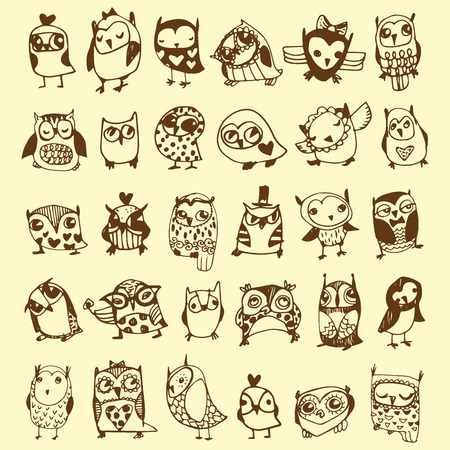 Owl Doodle Collection - hand drawn - vectorのイラスト素材