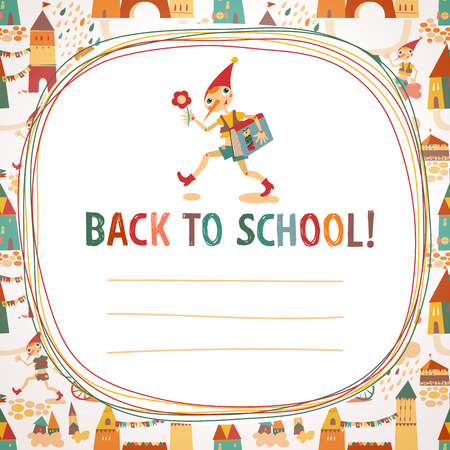 Children s  back to school  background with houses and the fairy