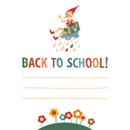 Children s  back to school  background with the fairytale boy an