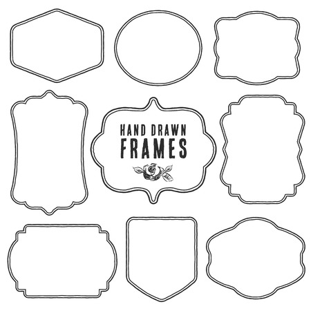 Photo pour Set of vintage blank frames and labels. Hand drawn vector illustration. - image libre de droit