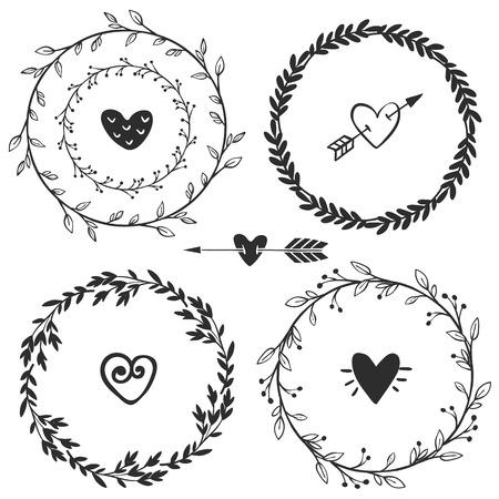Illustration pour Hand drawn rustic vintage wreaths with hearts. Floral vector graphic. Nature design elements. - image libre de droit