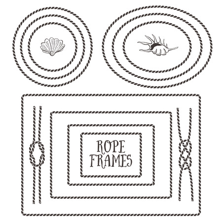 Rope frames, borders, knots. Hand drawn decorative elements in nautical style.