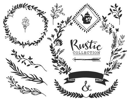 Illustration pour Rustic decorative elements with lettering. Hand drawn vintage vector design set. - image libre de droit