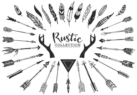 Photo pour Rustic decorative antlers, arrows and feathers. Hand drawn vintage vector design set. - image libre de droit