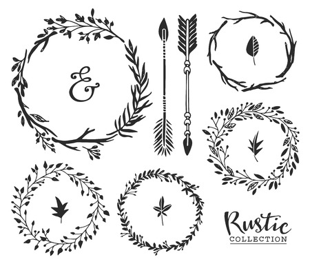 Hand drawn vintage ampersand, arrows and wreaths. Rustic decorative vector design set.