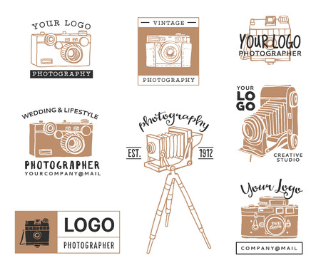 Hand drawn old photographic logo templates. Vintage style camera design elements. Ink decorative illustrations