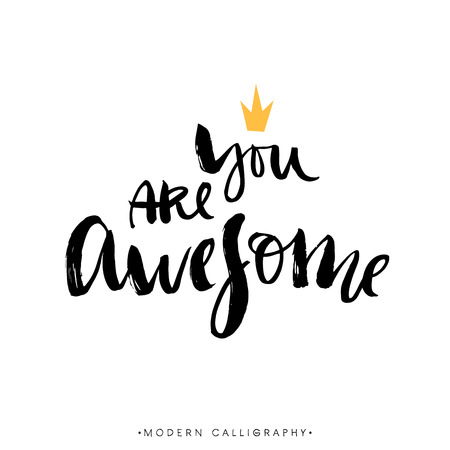 Illustration pour You are awesome. Modern brush calligraphy. Handwritten ink lettering. Hand drawn design elements. - image libre de droit