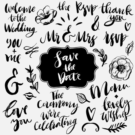 Wedding calligraphy and lettering collection. Ampersands and catchwords. Hand drawn design elements.