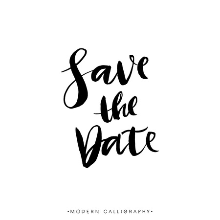 Save the Date. Modern brush calligraphy. Handwritten ink lettering. Hand drawn design elements.