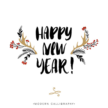 Illustration pour Happy New Year. Christmas calligraphy. Handwritten modern brush lettering. Hand drawn design elements. - image libre de droit