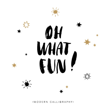 Illustration pour Oh what FUN! Christmas calligraphy. Handwritten modern brush lettering. Hand drawn design elements. - image libre de droit