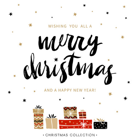 Ilustración de Merry Christmas and Happy New Year. Christmas greeting card with calligraphy. Handwritten modern brush lettering. Hand drawn design elements. - Imagen libre de derechos