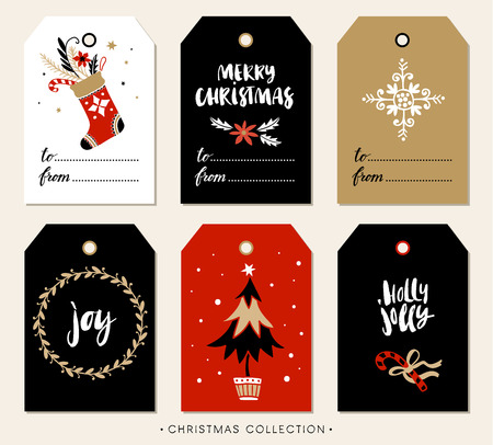 Ilustración de Christmas gift tag with calligraphy. Handwritten modern brush lettering: Merry Christmas, Joy, Holly Jolly. Hand drawn design elements. - Imagen libre de derechos