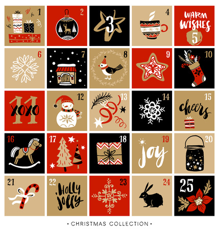 Christmas advent calendar. Hand drawn design elements and calligraphy. Handwritten modern brush lettering.