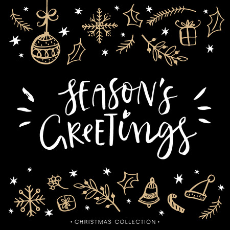 Ilustración de Season's greetings. Christmas greeting card with calligraphy. Hand drawn design elements. Handwritten modern lettering. - Imagen libre de derechos