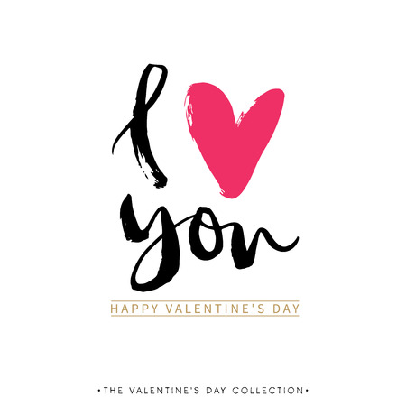 Illustration pour I love you. I heart you. Valentines day greeting card with calligraphy. Hand drawn design elements. Handwritten modern brush lettering. - image libre de droit