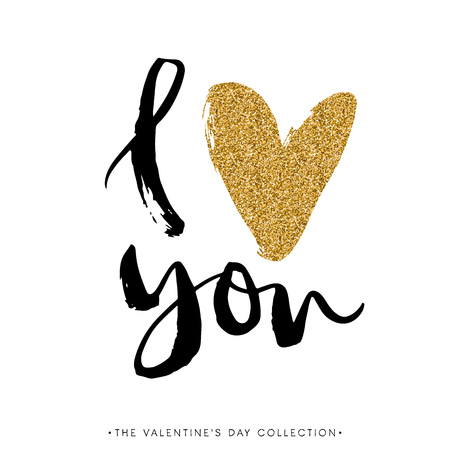 Illustration pour I love you. I heart you. Valentines day calligraphy glitter card. Hand drawn design elements. Handwritten modern brush lettering. - image libre de droit