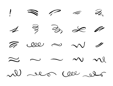 Hand drawn decorative curls, swirls, flourishes and text calligraphy dividers collection. Vintage design elements. Vector ink brush illustration.