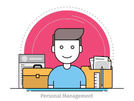 Thin line flat design concept of personal