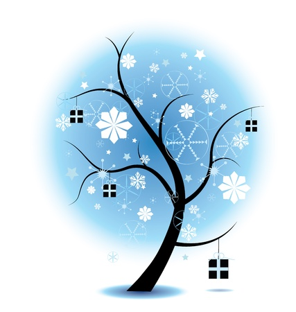 winter christmas Tree Stock Illustration complete with snowflakes and presents. Perfect for christmas themes. Eps V 8, gradients and opacity used.