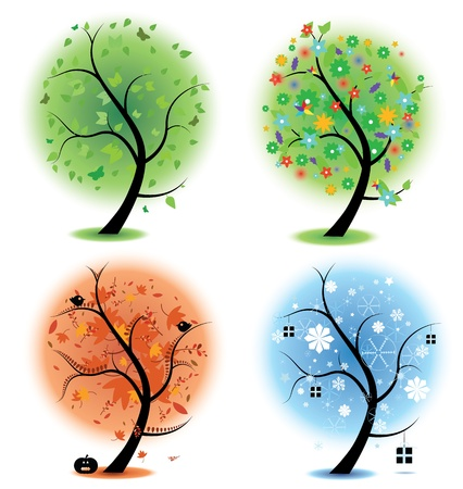 Four different illustrations of trees to symbolise the four different seasons of the year. Spring, summer,autumn, winter. EPS version 8 compatible with gradients.