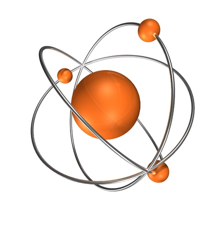 Photo for orange atom with chrome rings and neutrons, - Royalty Free Image