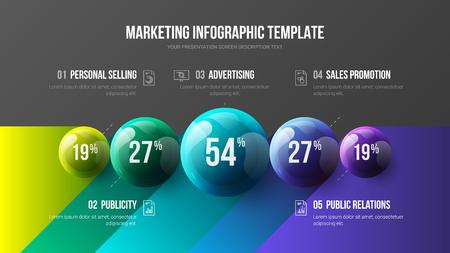 Ilustración de Amazing business infographic presentation vector 3D colorful balls illustration. Corporate marketing analytics data report design layout. Company statistics information graphic visualization template. - Imagen libre de derechos