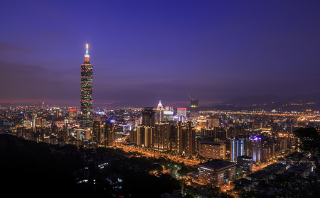 Photo for View from the top of the Xiangshan is the classical view of the 101 and Taipei night scene - Royalty Free Image