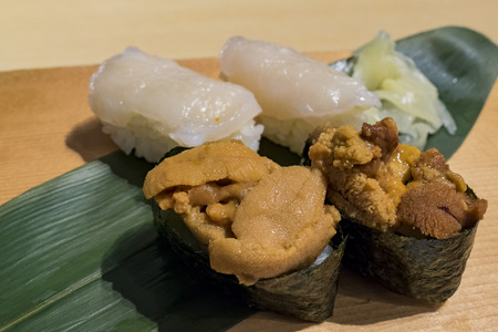 Delicious close up of japanese style seafood and squid Sushi, ate at Los Angeles, California, U.S.A.