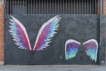 Los Angeles, MAR 3: The famous angel wings in Art District CO-OP on MAR 3, 2018 at Los Angeles