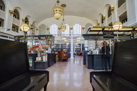 Denver, MAY 3: Interior view of the historical Union Station on MAY 3, 2017 at Denver, Colorado