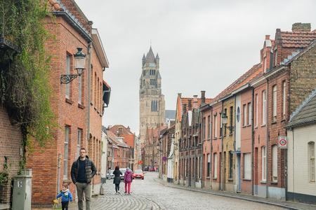 Brugge, APR 28: Beautiful street view with St. Salvator's Cathedral of the city on APR 28, 2018 at Brugge, Beligum