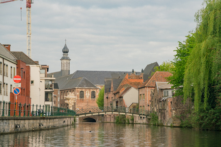 Ghent, APR 28: Beautiful cityscape and Leie river on APR 28, 2018 at Ghent, Belgium